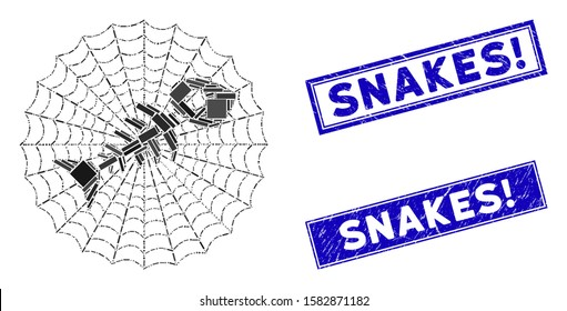 Mosaic dead fish net icon and rectangular Snakes! stamps. Flat vector dead fish net mosaic icon of scattered rotated rectangle elements. Blue Snakes! rubber stamps with grunge surface.