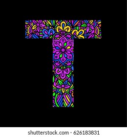 Mosaic decorative hand made font. Ornamental font.  Stained glass decorative lettering. letter T