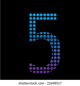Mosaic digit - 5. Vector.