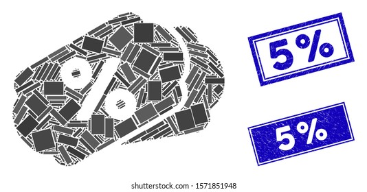Mosaic discount labels icon and rectangle 5% seal stamps. Flat vector discount labels mosaic icon of random rotated rectangle elements. Blue 5% seal stamps with grunged textures.
