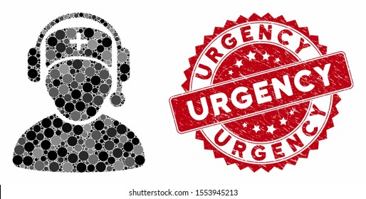 Mosaic doctor call center and grunge stamp seal with Urgency text. Mosaic vector is designed from doctor call center icon and with random spheric items. Urgency stamp seal uses red color,