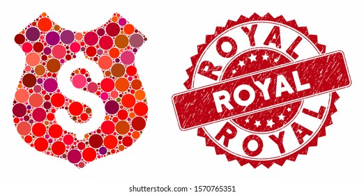 Mosaic dollar shield and grunge stamp seal with Royal text. Mosaic vector is designed from dollar shield icon and with scattered round items. Royal stamp uses red color, and grunge texture.