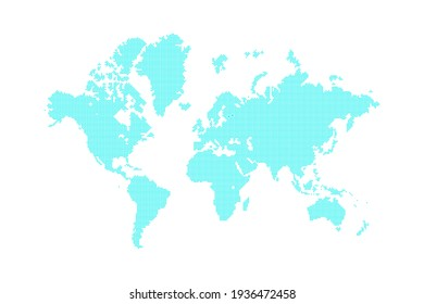 mosaic dotted blank world global map continents and oceans silhouette in blue color with small squares, pixels, stock digital vector illustration clip-art, design element isolated on white background