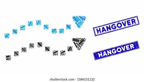 Mosaic dotted trend lines icon and rectangular Hangover seals. Flat vector dotted trend lines mosaic icon of randomized rotated rectangular elements. Blue Hangover seals with grunge textures.