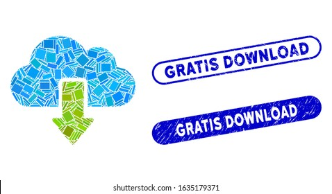 Mosaic download and rubber stamp watermarks with Gratis Download text. Mosaic vector download is designed with randomized rectangle items. Gratis Download stamp seals use blue color,