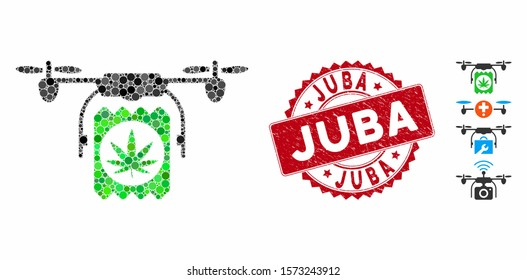 Mosaic drone cannabis delivery icon and corroded stamp seal with Juba phrase. Mosaic vector is composed from drone cannabis delivery icon and with scattered spheric elements.