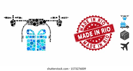 Mosaic drone gift delivery icon and rubber stamp watermark with Made in Rio text. Mosaic vector is designed from drone gift delivery icon and with scattered round items.