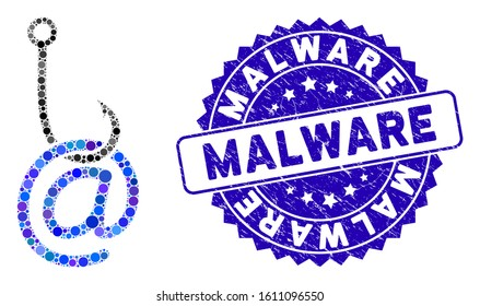 Mosaic email phishing malware icon and distressed stamp seal with Malware caption. Mosaic vector is formed with email phishing malware icon and with randomized circle items.