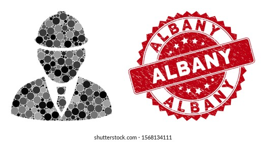 Mosaic engineer and grunge stamp seal with Albany text. Mosaic vector is composed with engineer icon and with scattered round items. Albany stamp seal uses red color, and rubber design.