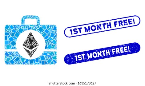 Mosaic Ethereum case and rubber stamp seals with 1St Month Free! phrase. Mosaic vector Ethereum case is created with random rectangle items. 1St Month Free! stamp seals use blue color,