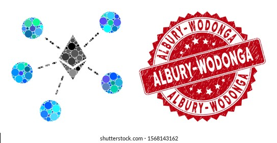 Mosaic Ethereum net structure and distressed stamp seal with Albury-Wodonga caption. Mosaic vector is created with Ethereum net structure icon and with random round spots.