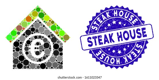 Mosaic euro financial center icon and grunge stamp seal with Steak House text. Mosaic vector is formed with euro financial center icon and with randomized spheric elements.