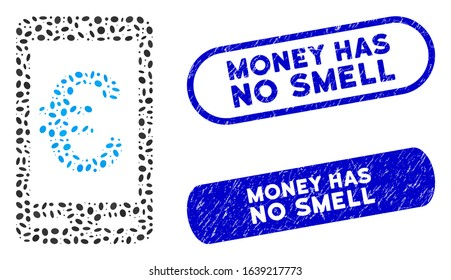 Mosaic Euro mobile bank and distressed stamp seals with Money Has No Smell caption. Mosaic vector Euro mobile bank is formed with random elliptic items. Money Has No Smell stamp seals use blue color,