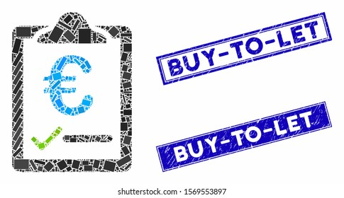 Mosaic euro price quote pictogram and rectangular stamps. Flat vector euro price quote mosaic pictogram of randomized rotated rectangular items. Blue caption stamps with grunge texture.
