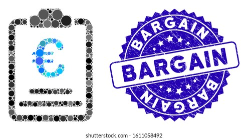 Mosaic Euro prices icon and grunge stamp seal with Bargain text. Mosaic vector is formed from Euro prices icon and with scattered circle items. Bargain stamp seal uses blue color, and grunged design.