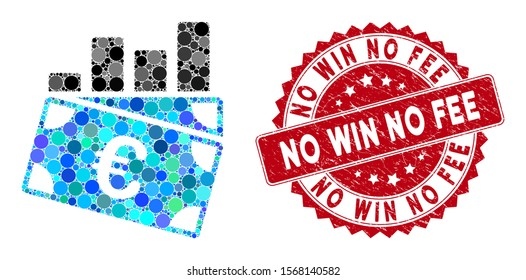 Mosaic Euro sales chart and rubber stamp watermark with No Win No Fee caption. Mosaic vector is designed with Euro sales chart icon and with randomized round spots. No Win No Fee stamp uses red color,