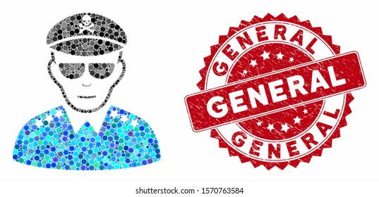 Mosaic evil army general and rubber stamp watermark with General phrase. Mosaic vector is created with evil army general icon and with randomized spheric items. General stamp uses red color,