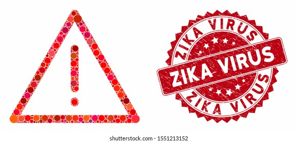 Mosaic exclamation and rubber stamp seal with Zika Virus phrase. Mosaic vector is created with exclamation icon and with scattered circle elements. Zika Virus stamp uses red color, and rubber texture.
