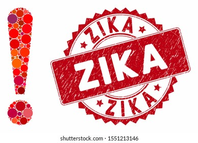 Mosaic exclamation sign and distressed stamp seal with Zika text. Mosaic vector is created with exclamation sign icon and with random circle spots. Zika stamp uses red color, and grunged texture.