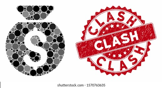Mosaic financial capital and rubber stamp seal with Clash text. Mosaic vector is composed with financial capital icon and with random round spots. Clash stamp seal uses red color,