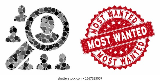 Mosaic find user and distressed stamp seal with Most Wanted text. Mosaic vector is created with find user icon and with random circle items. Most Wanted stamp uses red color, and rubber design.