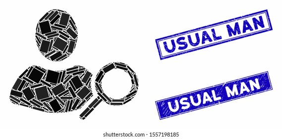 Mosaic find user icon and rectangle rubber prints. Flat vector find user mosaic icon of scattered rotated rectangle elements. Blue caption rubber seals with corroded textures.