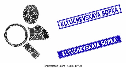 Mosaic find user icon and rectangle Klyuchevskaya Sopka seal stamps. Flat vector find user mosaic icon of scattered rotated rectangle elements.