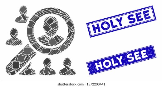 Mosaic find user pictogram and rectangle Holy See seal stamps. Flat vector find user mosaic pictogram of random rotated rectangle elements. Blue Holy See seal stamps with distress surface.