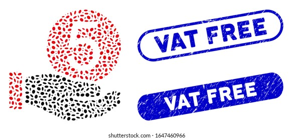 Mosaic five cents payment and distressed stamp seals with Vat Free caption. Mosaic vector five cents payment is created with random elliptic items. Vat Free stamp seals use blue color,