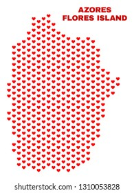Mosaic Flores Island of Azores map of valentine hearts in red color isolated on a white background. Regular red heart pattern in shape of Flores Island of Azores map.