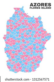 Mosaic Flores Island of Azores map of love hearts in pink and blue colors isolated on a white background. Lovely heart collage in shape of Flores Island of Azores map.
