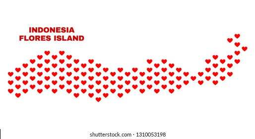 Mosaic Flores Island of Indonesia map of love hearts in red color isolated on a white background. Regular red heart pattern in shape of Flores Island of Indonesia map.