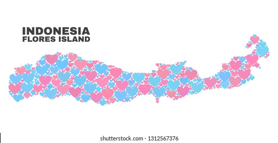 Mosaic Flores Island of Indonesia map of love hearts in pink and blue colors isolated on a white background. Lovely heart collage in shape of Flores Island of Indonesia map.