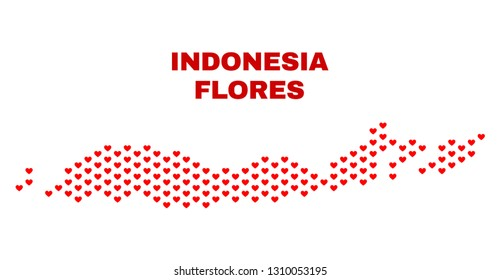 Mosaic Flores Islands of Indonesia map of love hearts in red color isolated on a white background. Regular red heart pattern in shape of Flores Islands of Indonesia map.