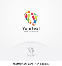 Mosaic footprint logo design, Vector colorful footprints with mosaic style. Symbol of adventure and therapy with playful style logo template
