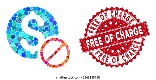 Mosaic free of charge and grunge stamp watermark with Free of Charge text. Mosaic vector is formed with free of charge icon and with randomized round elements. Free of Charge stamp uses red color,
