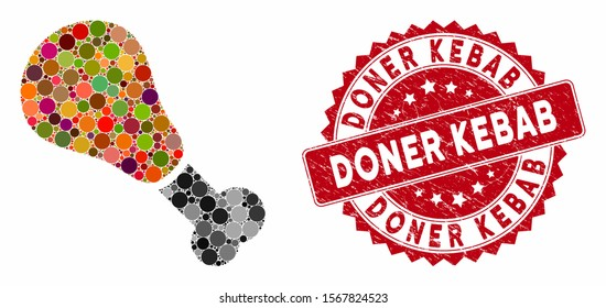 Mosaic fried chicken leg and grunge stamp seal with Doner Kebab phrase. Mosaic vector is created with fried chicken leg icon and with randomized spheric spots. Doner Kebab stamp seal uses red color,