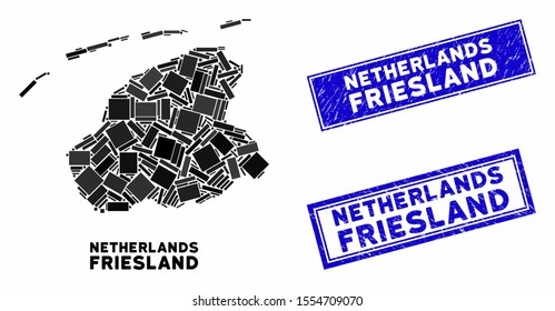 Mosaic Friesland Province map and rectangular seals. Flat vector Friesland Province map mosaic of scattered rotated rectangular items. Blue caption seals with rubber texture.