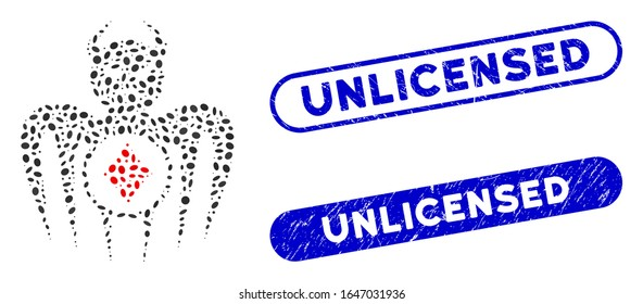 Mosaic gambling spectre devil and rubber stamp seals with Unlicensed phrase. Mosaic vector gambling spectre devil is designed with scattered ellipse spots. Unlicensed stamp seals use blue color,