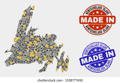 Mosaic gear Newfoundland Island map and blue Made In textured stamp. Vector geographic abstraction model for service, or patriotic illustrations.