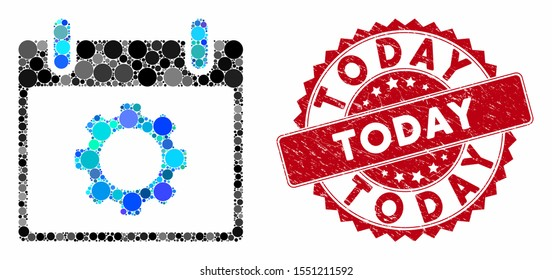 Mosaic gear options calendar day and grunge stamp seal with Today phrase. Mosaic vector is created with gear options calendar day icon and with scattered spheric items. Today seal uses red color,