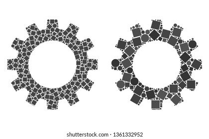 Mosaic Gearwheel icons constructed from spheric and square elements in different sizes, positions and proportions. Vector circle and square elements are united into abstract shape gearwheel icons.