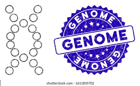 Mosaic genome icon and distressed stamp seal with Genome text. Mosaic vector is formed with genome icon and with scattered spheric spots. Genome stamp seal uses blue color, and distress texture.