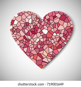 Mosaic, Geometric, low poly Heart to Day of Lovers. Vector illustration of Love.