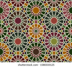 Mosaic Geometric pattern. Islamic tile, zellige. Middle Eastern Old texture. Motif Wallpaper