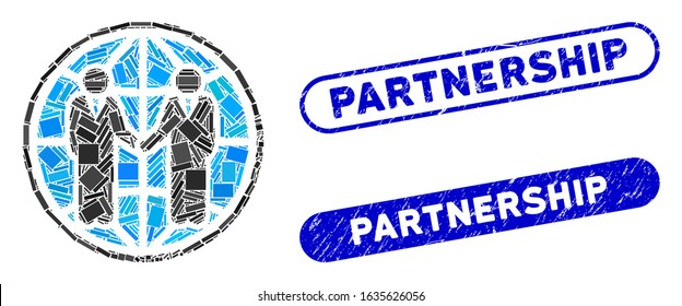 Mosaic global partnership and distressed stamp seals with Partnership phrase. Mosaic vector global partnership is created with scattered rectangle items. Partnership stamp seals use blue color,
