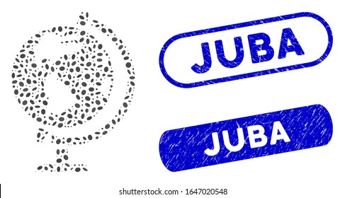 Mosaic globe and corroded stamp seals with Juba text. Mosaic vector globe is composed with random ellipse parts. Juba stamp seals use blue color, and have round rectangle shape.