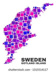 Mosaic Gotland Island map isolated on a white background. Vector geographic abstraction in pink and violet colors. Mosaic of Gotland Island map combined of scattered square elements.