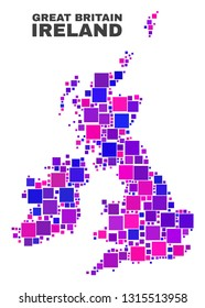 Mosaic Great Britain and Ireland map isolated on a white background. Vector geographic abstraction in pink and violet colors. Mosaic of Great Britain and Ireland map combined of random square items.