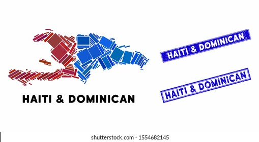 Mosaic Haiti and Dominican Republic map and rectangle stamps. Flat vector Haiti and Dominican Republic map mosaic of randomized rotated rectangle elements. Blue caption stamps with rubber textures.